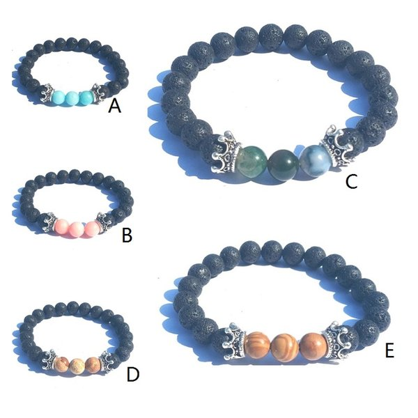 Crown Charms 8MM Natural Stone Black Lava Stone Beads Elastic Bracelet Essential Oil Diffuser Bracelet Volcanic Rock Beaded Hand Strings