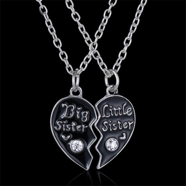 whole saleNew 2 Pcs/Set Women Girl Child Big Little Sister Heart Necklace Gift Crystal Rhinestones Sisterhood Necklace