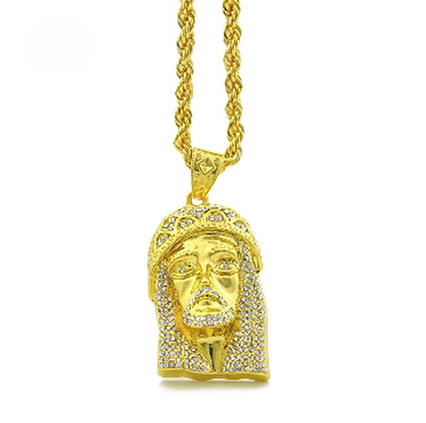 Men's Iced Out Jesus Face Pendant with a 30 Inch Rope Chain Necklace 18k Gold Plated CZ Jesus Pendant Gold Silver Hip hop Jewelry