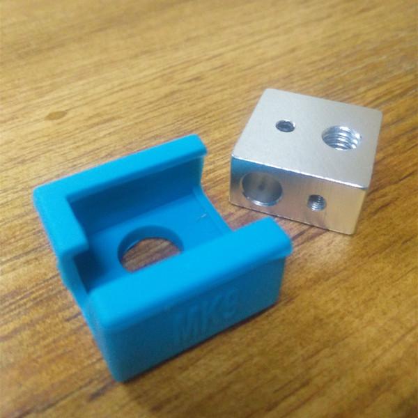 1pc MK9 Calcetín de silicona + 1pc Bloque calentador para Ender 3 Hotend Ender Creality CR-10 Anet Reprap Tronxy X5S