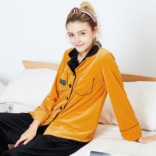 Manga larga pantalón de pijama de mujer con cuello en v caliente terciopelo coral traje de las mujeres 2018 ropa de dormir de moda de invierno