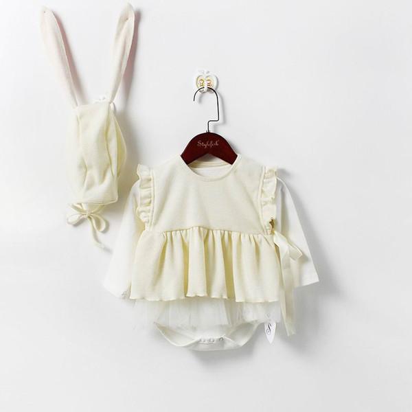 Bébé fille 3pcs ensembles de vêtements Bodys à manches longues + Gilet + Oreilles de lapin Chapeau Mode Tenues Enfants Vêtements 0-2 Ans E86002