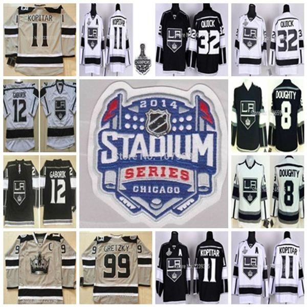 sale retailer 21062 cf718 2014 Stadium Series LA Kings Hockey Jerseys 12 Marian Gaborik 32 Jonathan  Quick 11 Anze Kopitar Drew Doughty 99 Wayne Gretzky Stitche Jersey