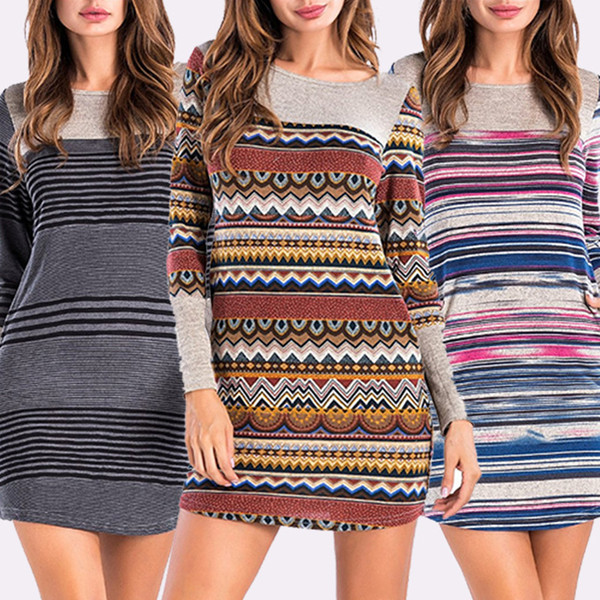 New women casual dresses stripe stitching round neck dress irregular loose african clothing plus size dresses for womens
