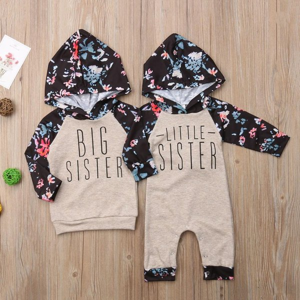 Family Set Sister Match Clothes Kids Hooded Sweatshirt Baby Girl Romper Bodysuit Outfit Set
