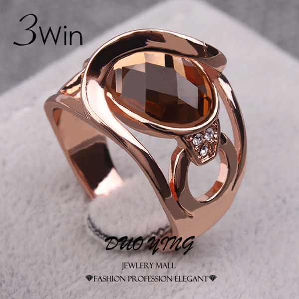 3Win Brand quality fashion Wedding Rings For Women Fancy Jewelry Rose Gold Color Crystal Glass Women's Ring Female Jewelry Anel