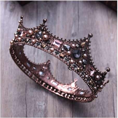 3 estilo de corte retro barroco nupcial tiara novia reina rey corona de la boda de pelo accesorios de la joyería mujeres desfile de baile casco