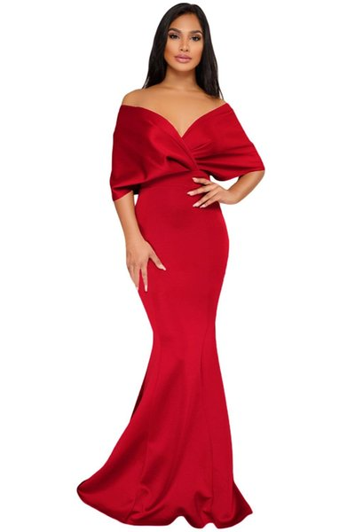 2018 Off The Shoulder Party Gowns Formal Sexy Elegant Backless Mermaid Zip Maxi Long Dress Vestidos de Festa Longo Dresses