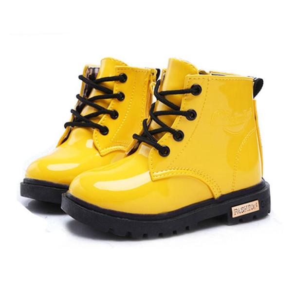 Sapatas das crianças meninas Meninos PU de Couro Lace Up High Crianças Sneakers menina Sapatos de Bebê Esporte Outono Inverno Crianças Sapatos