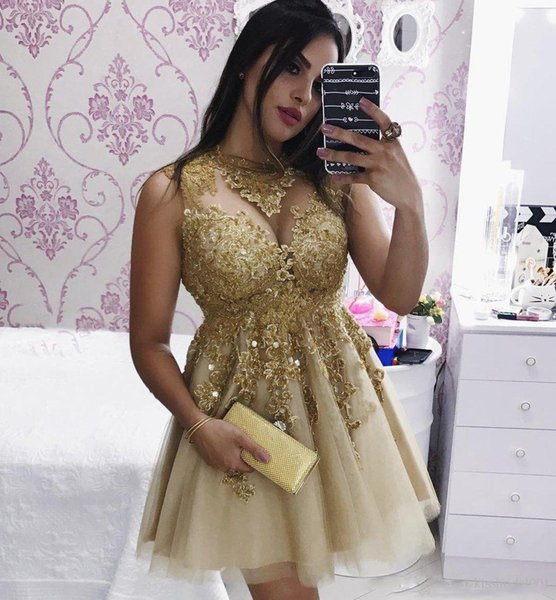 Cocktail Party Dresses Champagne Gold Lace Graduation Dresses 2018 Short Mini Length Homecoming Dresses A Line Crew Neck Beading Girls Gowns