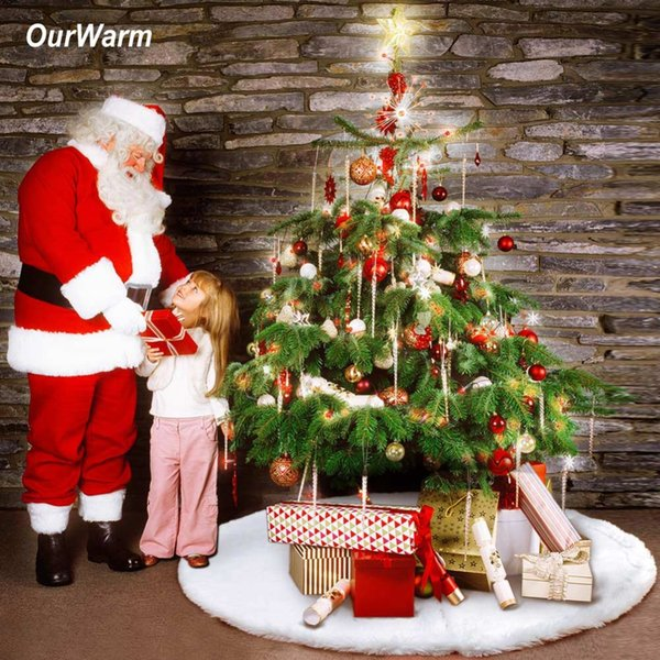 OurWarm 48inch 122cm White Christmas Tree Skirt faux fur Plush Tree Skirt Christmas Carpet Decorations for New Year