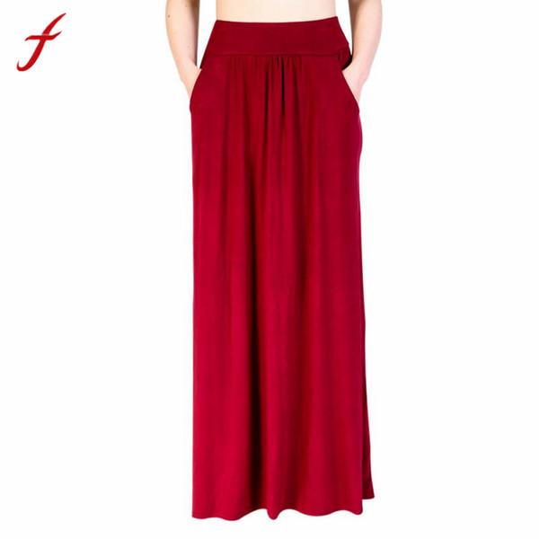 Feitong verão cintura alta plissada saia longa mulheres uma linha vermelha ruffles partido saias senhoras estilo coreano bolso saia