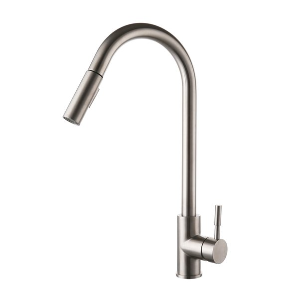 KES LEAD-FREE SUS 304 Stainless Steel Pull Down Kitchen Faucet Mixer Tap with Pull Out Sprayer Swivel High Arc Spout, Brushed