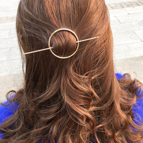 top popular Minimalist Gold Hair Accessories Brass Hair Clip Round Barrette HairPin Gold Hair Slide Geometric Simple HairClips For Women 2019
