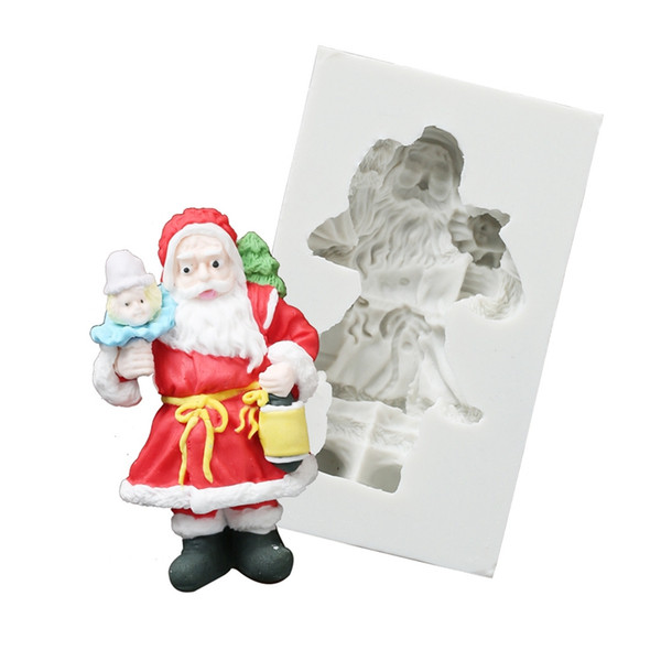 Merry Chirstmas Santa Moldes para hornear Pastel de silicona personajes de dibujos animados Molde para hornear para niños vacaciones para hornear herramientas