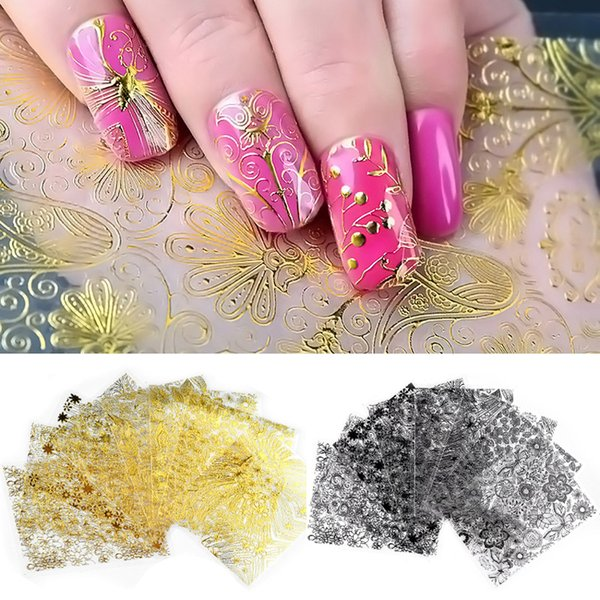 8 Pcs/set Embossed 3D Metallic Nail Stickers Gold Silver White Black Blooming Flower Design Adhesive Nail Art Decoration Tool