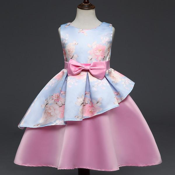 Novas Meninas Vestidos Para Crianças Traje Vestidos Criança Vestido Arco Princesa Vestido de Festa Crianças Roupas Vestidos De Noiva DK1049CR