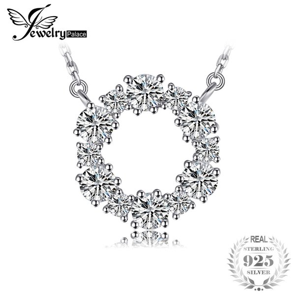 JewelryPalace 925 Sterling Silver Circle Chain Pendant Collar Necklace 45cm Fine Jewelry Necklaces Nice Gift For Women Y18102910