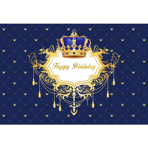 Customized Birthday Party Photo Booth Backdrop Dark Blue Printed Gold Crown Prince Baby Shower Background Boy Kids Back Drop