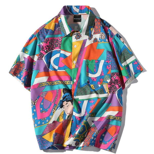Camicie Uomo Blocco giapponese Camicie maschili Camicia a maniche corte in cotone sottile Moda casual stile college Streetwear per uomo