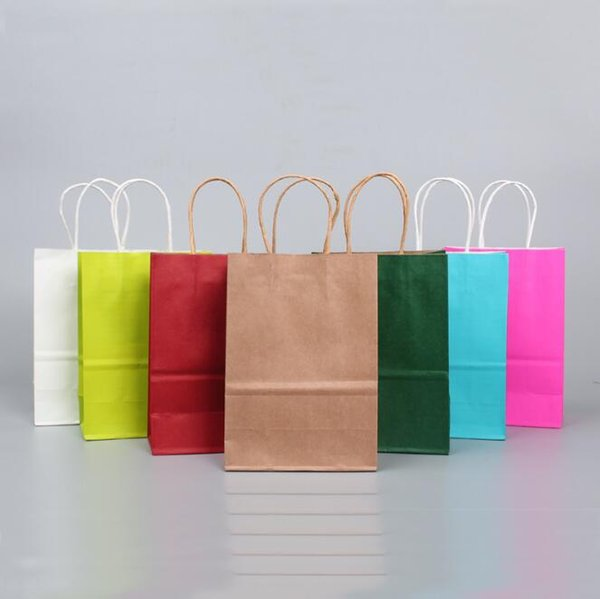 10 Colors Paper Gift Bag Brown Kraft Paper Bags with Handles Shopping Bags Halloween Christmas Paper Bags Gift Wrap CCA10566 200pcs