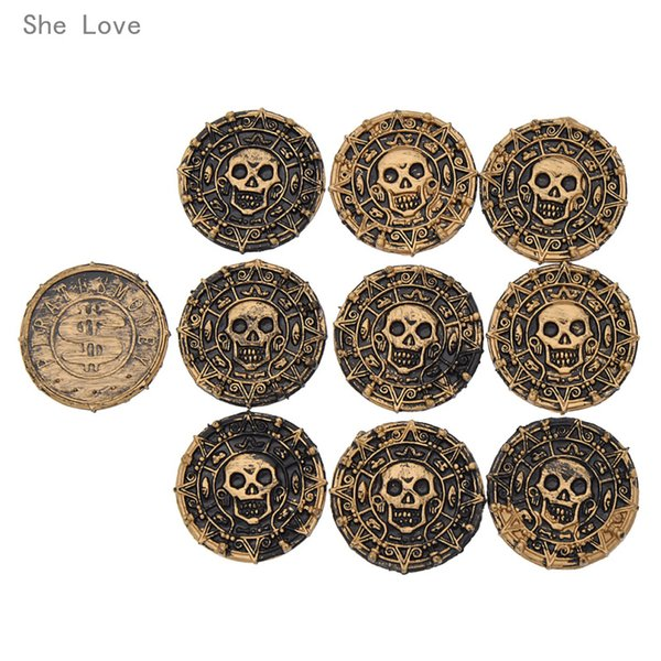 Cheap supplies She Love 10pcs Plastic Pirate Treasure Coins Props Christmas Gift Children's Toys Game Currency Halloween Party Supplies