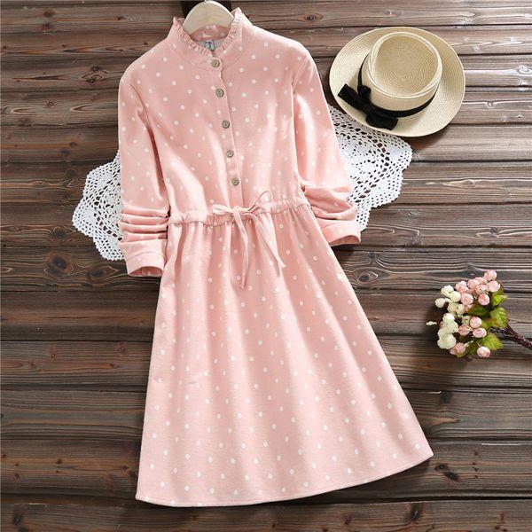 Japanese Mori Girl Autumn Winter Women Warm Dress Pink Polk Dot Cute Kawaii Mini Ladies Dress Korea Elegant Vintage Fleece Dress