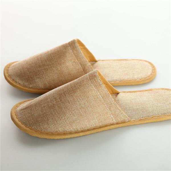 Pantoufles jetables en lin et coton Massage universel antidérapant Babouche Brown orteils nus Baboosh High End 1 4ty B