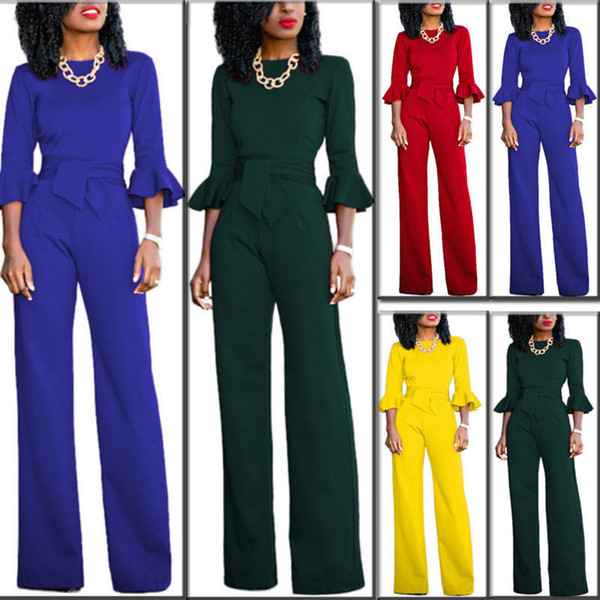 2018 New Women's Casual Long Sleeve Jumpsuit Romper Wide Leg Pants Trousers Clubwear Clothes Skinny Sashes Solid Soft Pants