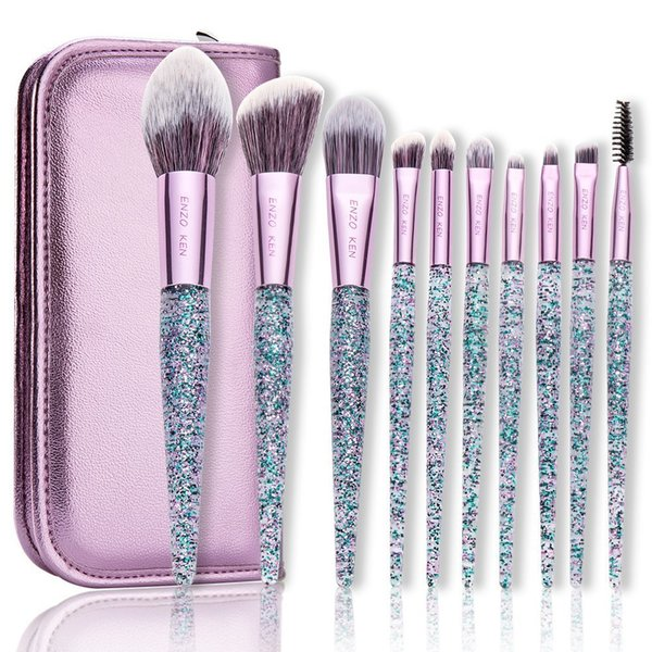 Makeup Brushes with Bag ENZO KEN 10Pcs Foundation Blush Brush Powder Blending Highlighting Makeup Brushes Merry Christmas Gift D18110902