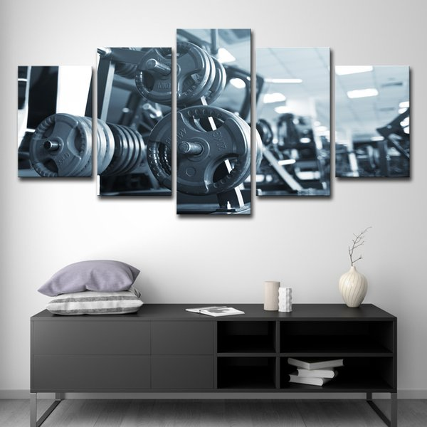 Canvas HD Prints Modern Pictures Home Decor Wall Art 5 Piece Fitness Barbell Painting Bodybuilding Equipment Poster