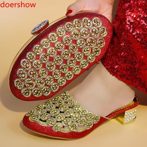 Red Africa Summer Style Woman Shoes And Bag Set Fashion Rhinestone High Heel Shoes And Bag Set For Evening Party !A13-205