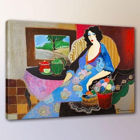 Itzchak Tarkay Woman Lady Cafe Portraits Art,Handpainted /HD Print Wall Art Oil Painting On Canvas.Multi Custom Sizes /Frame It062