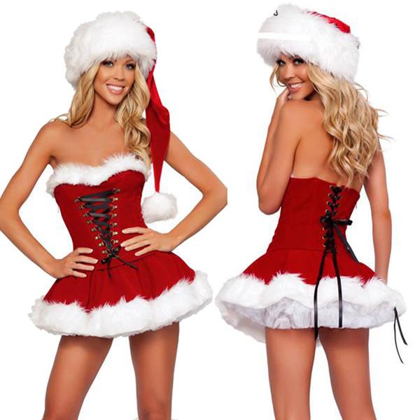 Großhandel Personalisierte Verband Dekoration Weihnachten Kleidung Goldene Samt Material Weihnachten Kostüme Sexy Wischen Brust Red Kostüme