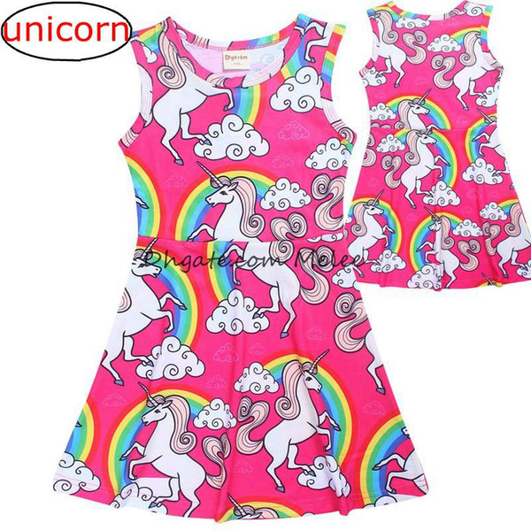 best selling INS Girls Summer Unicorn full print Dresses kids Rainbow Clouds Cotton Casual Dress Princess dresses party dress Children Clothing 4-10Y