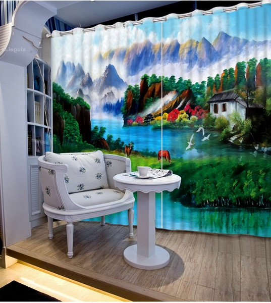custom modern living room curtains Oil painting landscape curtains decorative beads curtains 3d photo home goods curtain