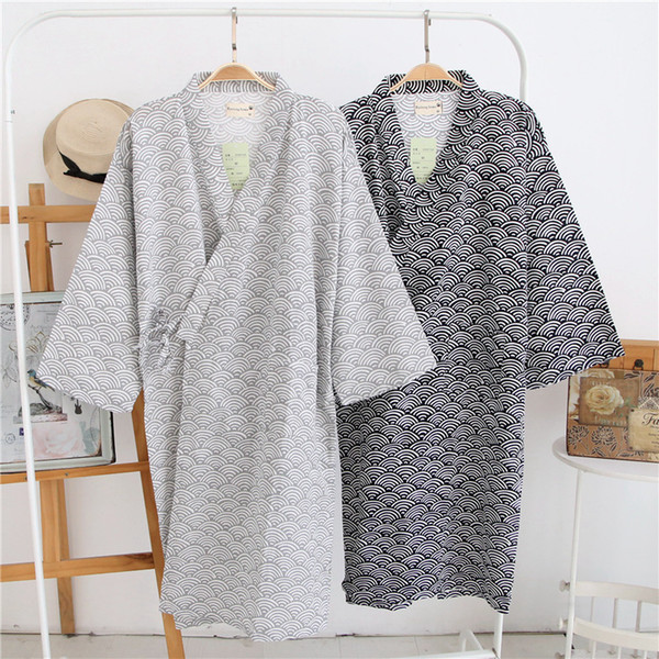 Wholesale-lovers Simple Japanese kimono robes men spring long sleeved 100% cotton bathrobe fashion casual waves dressing gown for male