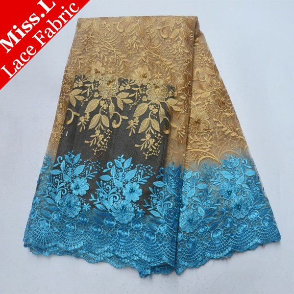 Miss L Sky Blue Lace Trim Embroidered Flower French Tulle Lace Fabric Gold Beaded African Lace Fabric with Stones for Garment