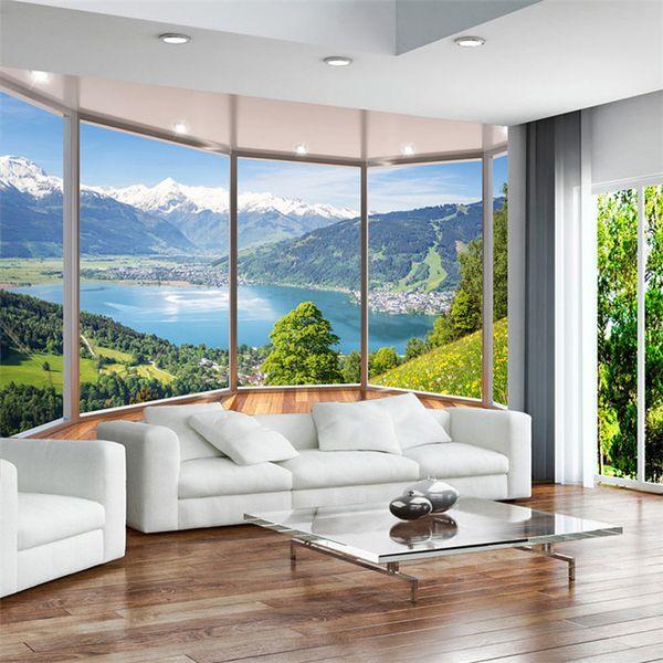 Acquista Personalizzato 3D Wallpaper Murale Moderno Creativo Balcone  Francese Finestra Natura Paesaggio Foto Sfondi Soggiorno Camera Da Letto  Home ...