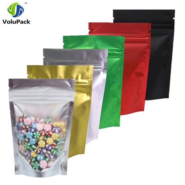 """100pcs 8.5x13cm (3.25x5"""") Recyclable Matte Clear Front Ziplock Storage Bags Tear Notch Metallic Mylar Zip Lock Stand Up Pouches"""