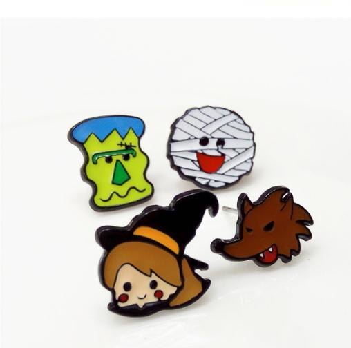 4 pairs Color drop oil series Cartoon Halloween Witch Rigor Mortis mummy Wolf cute enamel alloy earrings mixed earring holiday gifts F8