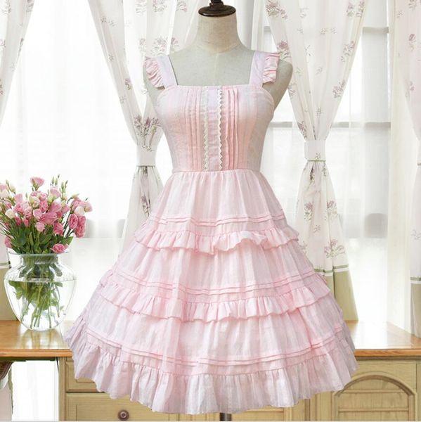2018 Lolita Court princess Fashion Pink/White Sling Sleeveless Ruffle Woman Dress gothic lolita victorian sweet Dress