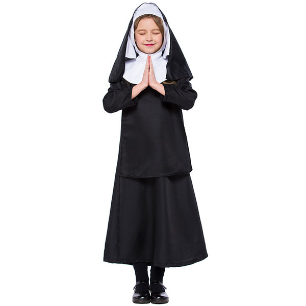 Children Black Nun Dress With Hooded Set Costumes Suit Cosplay For Girls Halloween Bell Church Party Cosplay