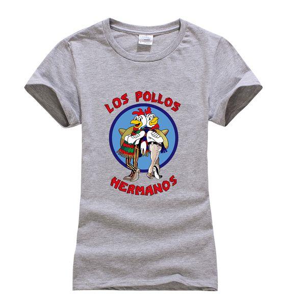 Женская футболка Оптовая скидка Heisenberg 2017 Летняя горячая распродажа Los Pollos Hermanos Хлопковая футболка Женщины Slim Fit топы Марка Футболка Femme