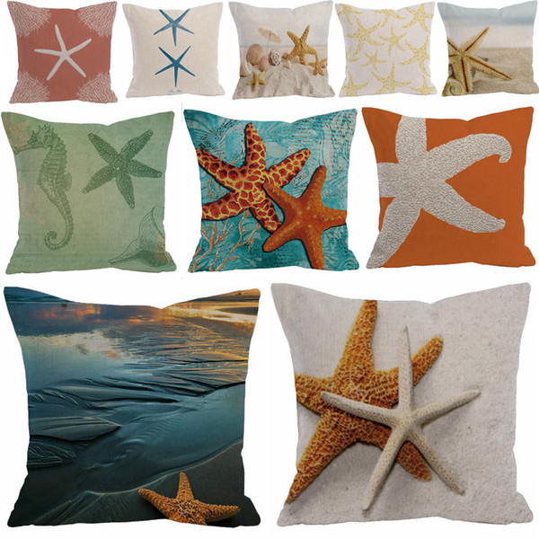 top popular 26 styles starfish pillowcase cotton and linen sea star pillow cover home sofa decor waist cushion cover DDA699 2021