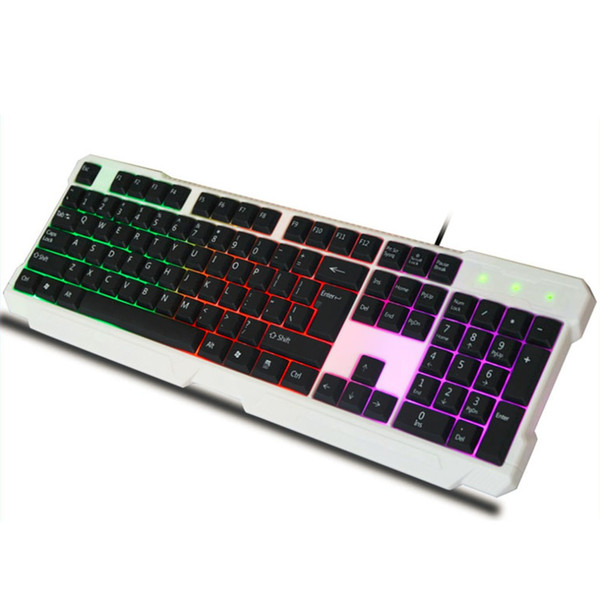 Waterproof LED Light Keyboard with Rainbow Backlight USB Wired Gaming Keyboard Ergonomically for Gamer for Desktop Laptop PC