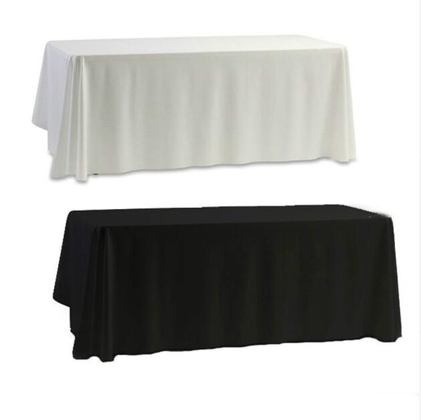 best selling White Black Table Cloth Table Cover for Banquet Wedding Party Decor 145x145cm Plain Dyed Home Decorartion