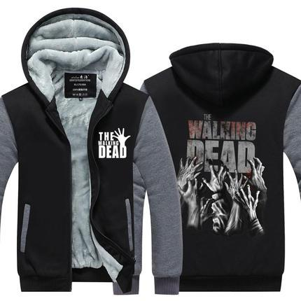 The Walking Dead Print Winter Cashmere Hoodie Zipper Jacket Leisure Sweatshirts Thicken Cardigan Coat Long Sleeve Tracksuit Pullovers Tops