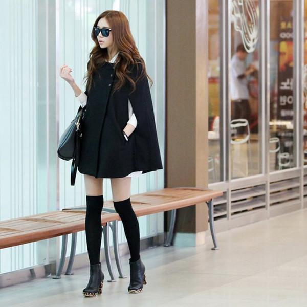 Women Winter Batwing Poncho Single-breasted Woolen Coats Casual Loose Overcoat Hooded Collar Long Sleeve Cloak Coat Capes Jacket L18100706