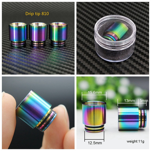 top popular 510 810 Thread Drip Tips Rainbow Color Stainless Steel SS Drip Tip for Wide Bore Mouthpiece TFV8 TF12 Prince Tank Bulb Glass DHL 2021